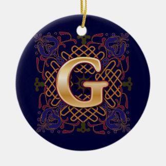 De Keltische Brief G van het Monogram Rond Keramisch Ornament
