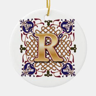 De Keltische Brief R van het Monogram Rond Keramisch Ornament