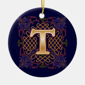 De Keltische Brief T van het Monogram Rond Keramisch Ornament