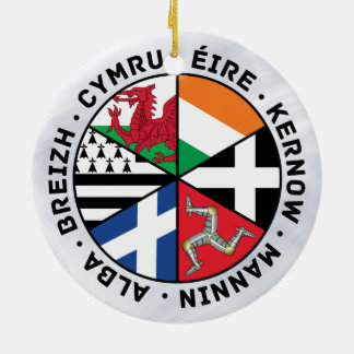 De Keltische Decoratie van de Vlaggen van Naties Rond Keramisch Ornament