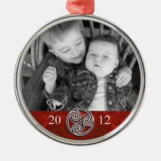 De Keltische Foto Ornam van Kerstmis van Zilverkleurig Rond Ornament