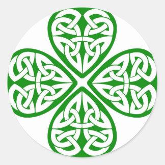 De Keltische Klaver van de Knoop Ronde Stickers