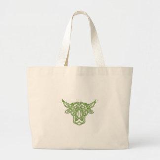 De Keltische Knoop van de Stier van de Stier Grote Draagtas