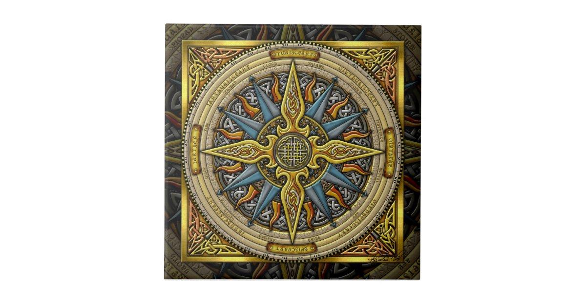 De Keltische Tegel Van Het Kompas Keramisch Tegeltje Zazzlenl