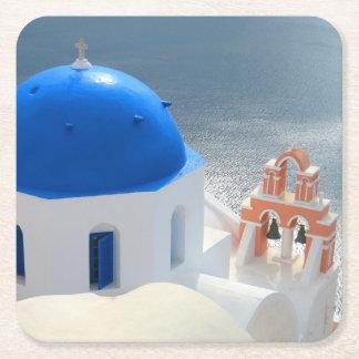 De Kerk van Santorini in de Zon van de Middag Vierkante Onderzetter