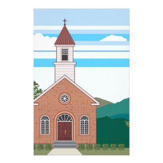De kerk vectorlandschap van de baksteen briefpapier papier
