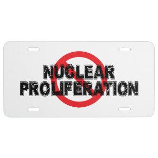 De KernProliferatie van het verbod Nummerplaat