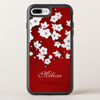 De kers komt Zwart Wit Rood Monogram tot bloei OtterBox Symmetry iPhone 8 Plus / 7 Plus Hoesje