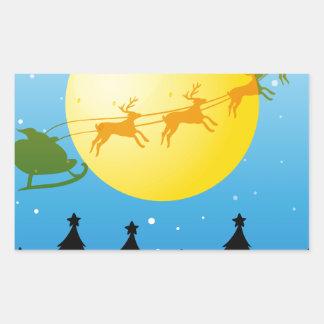 De Kerstboom en de Kerstman van het silhouet Rechthoek Sticker
