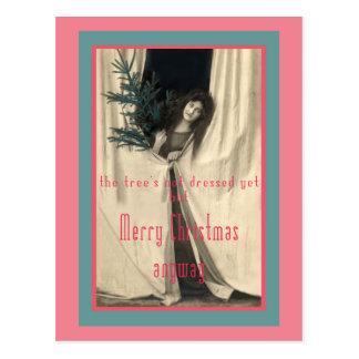 De kerstboom is niet nog Gekleed Briefkaart