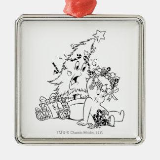 De Kerstboom van Casper Zilverkleurig Vierkant Ornament