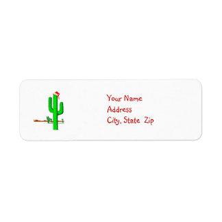De Kerstboom van de cactus - Adresetiket Etiket