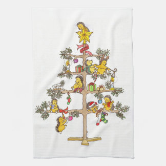 De Kerstboom van de egel Keukenhanddoek