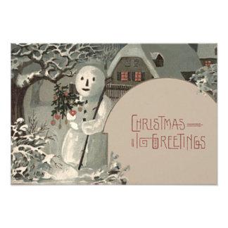 De Kerstboom van de sneeuwman siert de Sneeuw van Fotoprints