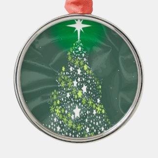De Kerstboom van de zijde Zilverkleurig Rond Ornament