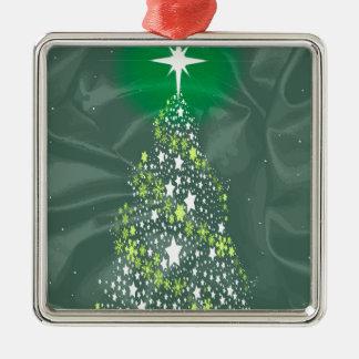 De Kerstboom van de zijde Zilverkleurig Vierkant Ornament
