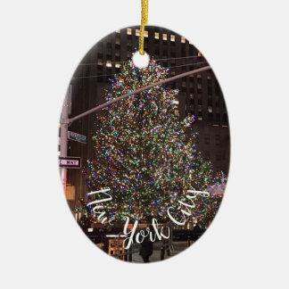 De Kerstboom van het Centrum van Rockefeller van Keramisch Ovaal Ornament