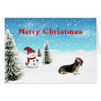 De Kerstkaart van Basset Hound Briefkaarten 0
