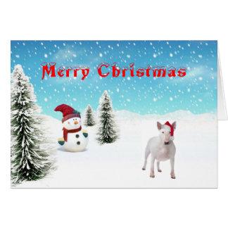 De Kerstkaart van bull terrier Wenskaart
