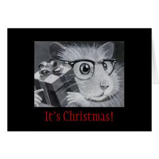 De Kerstkaart van de Hamster van Geek Wenskaart