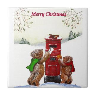 De Kerstkaart van de teddybeer Tegeltje Vierkant Small