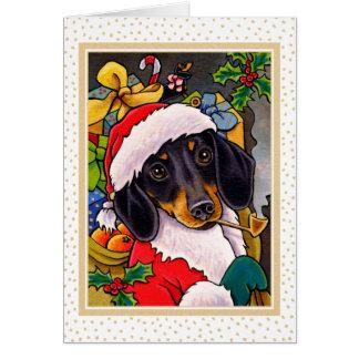 De Kerstkaart van de Tekkel van de Hond van de Briefkaarten 0