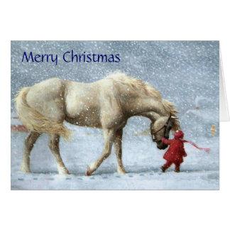 De Kerstkaart van het meisje en van het Paard Kaart