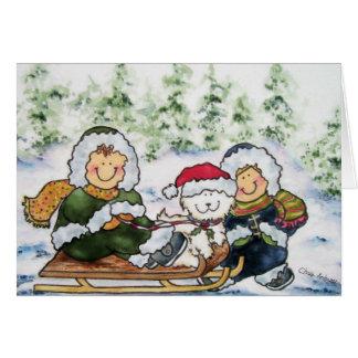 De Kerstkaart van het puppy Wenskaart