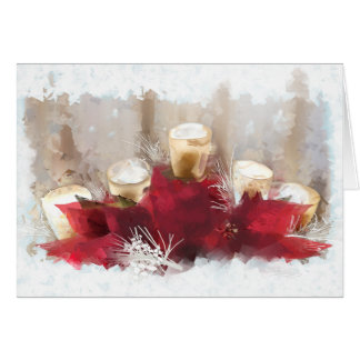 De Kerstkaart van poinsettia en van Kaarsen Wenskaart