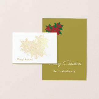 De Kerstkaart van poinsettia Folie Kaarten