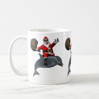 De Kerstman die op Dolfijn berijden Koffiemok