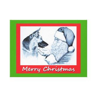 De Kerstman en Duitse herder voor Kerstmis Canvas Afdruk