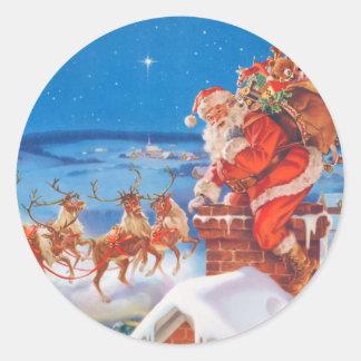 De Kerstman en zijn Machtig Rendier Ronde Sticker