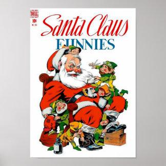 De Kerstman Funnies - het Verzorgen van het Elf Poster