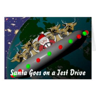 De kerstman gaat op een Aandrijving van de Test Wenskaart
