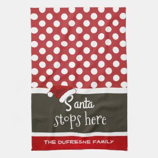 """De """"kerstman houdt"""" hier de Stippen van Kerstmis Handdoek"""