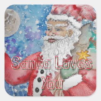 De kerstman houdt van u vierkant stickers