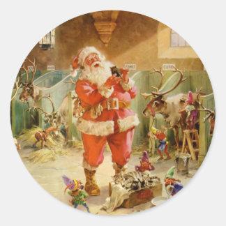 De Kerstman in de Stallen van het Rendier van Ronde Sticker