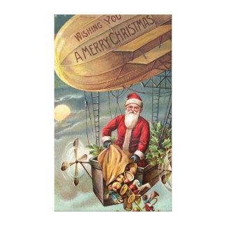 De Kerstman in Luchtschip 3 Canvas Afdruk