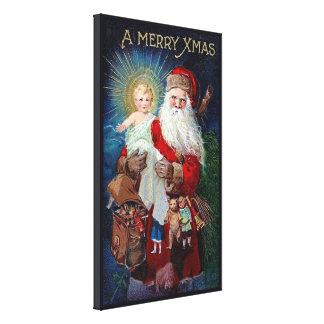 De Kerstman met het Kind van Christus Canvas Afdruk