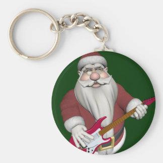 De Kerstman met Rode Elektrische Gitaar Basic Ronde Button Sleutelhanger