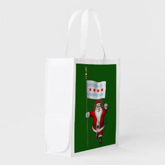 De Kerstman met Vlag van Chicago Boodschappentas