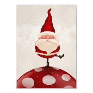 De Kerstman op paddestoel 12,7x17,8 Uitnodiging Kaart
