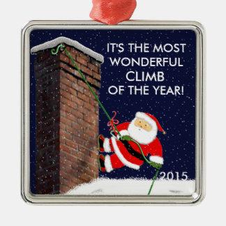 De Kerstman van de Bergbeklimming Zilverkleurig Vierkant Ornament