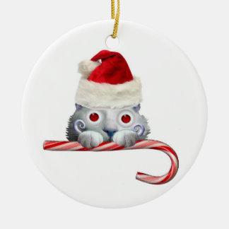 De Kerstman van de Kat van de voyeur Rond Keramisch Ornament