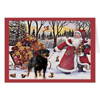 De Kerstman van de Kerstkaart van Rottweiler Wenskaart