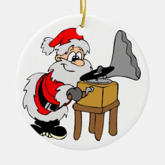 De Kerstman van de Platenspeler van de muziek Rond Keramisch Ornament