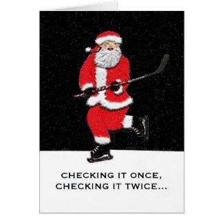 De Kerstman van het hockey Briefkaarten 0