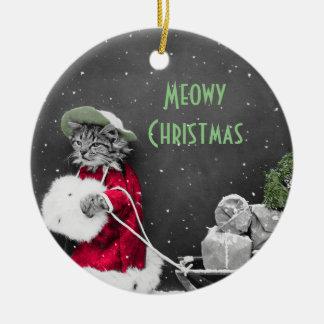 De Kerstman van het katje en Slee van Pakketten Rond Keramisch Ornament
