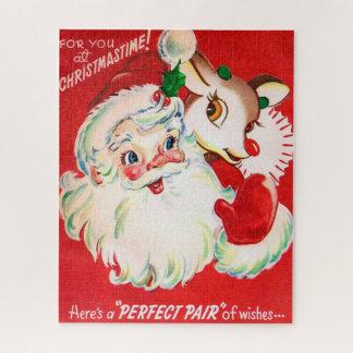 De Kerstman van Kerstmis en rendier retro vintage Legpuzzel